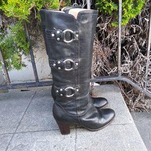 Frye Fiona 3 Strap Boots Black 7.5